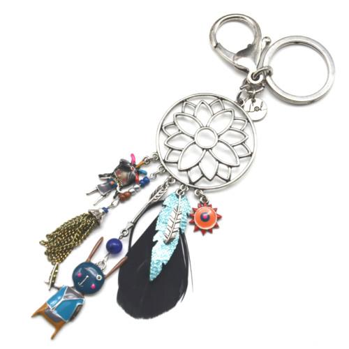 Porte-Cles-Bijou-de-Sac-Fleur-Rosace-Metal-avec-Charms-et-Plume-Ethnique