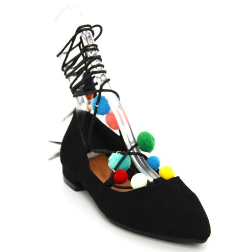 Ballerines-Effet-Daim-Uni-avec-Bout-Pointu-Petit-Talon-et-Lacet-Cordon-a-Nouer-Cheville-avec-Pompons-Multicolore-et-Plumes-Noir