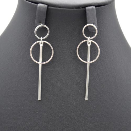 Boucles-dOreilles-Pendantes-Double-Cercles-Ouverts-et-Barre-Metal-Argente