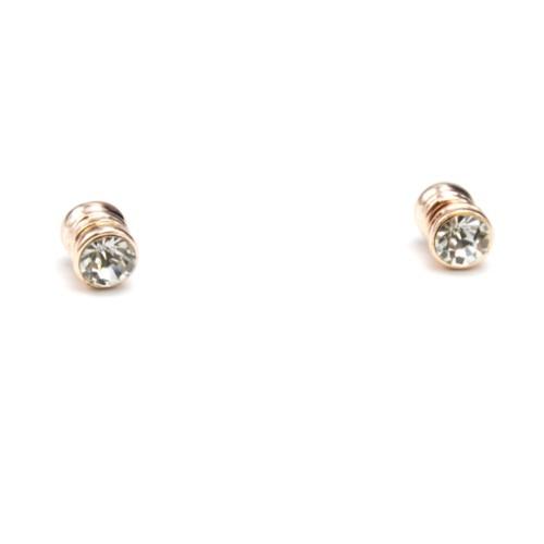 Boucles-dOreilles-Aimant-avec-Pierre-Ronde-Transparente-et-Metal-Or-Rose