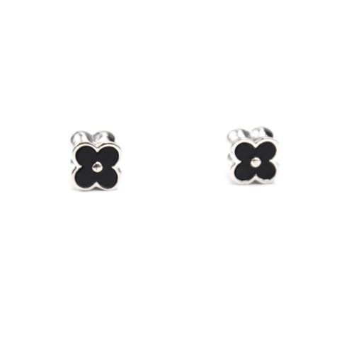 Boucles-dOreilles-Aimant-Trefle-Metal-Argente-avec-Double-Face-Strass-et-Resine-Noire