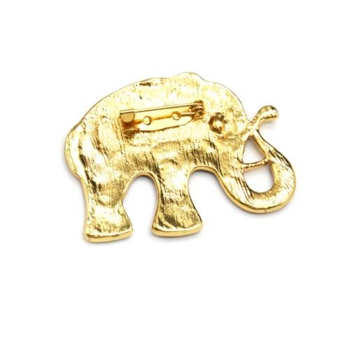 Broche-Elephant-Metal-Peint-Marron-Motif-Paisley-Fleurs-et-Metal-Vieilli-Dore