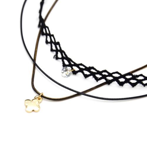 Collier-Choker-Ras-du-Cou-Tissu-Ajoure-Noir-avec-Pierre-et-Cordon-Chaine-Pendentif-Trefle-Metal-Dore