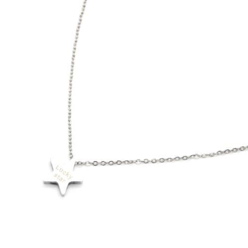 Collier-Fine-Chaine-Pendentif-Etoile-Acier-Argente-avec-Message-Lucky-Star