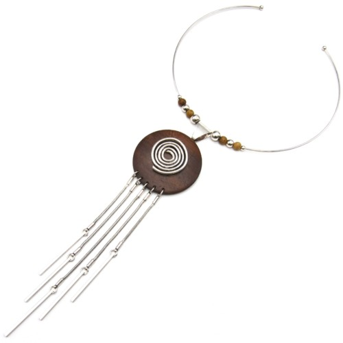 Collier-Ras-du-Cou-Pendentif-Cercle-Bois-Palissandre-avec-Spirale-et-Multi-Chaines-Metal-Argente