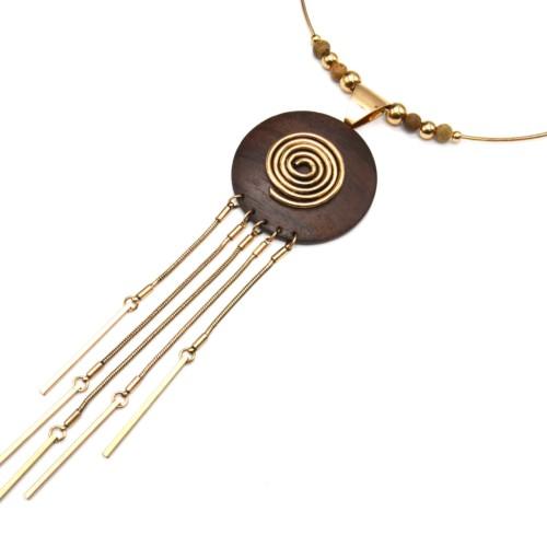 Collier-Ras-du-Cou-Pendentif-Cercle-Bois-Palissandre-avec-Spirale-et-Multi-Chaines-Metal-Dore