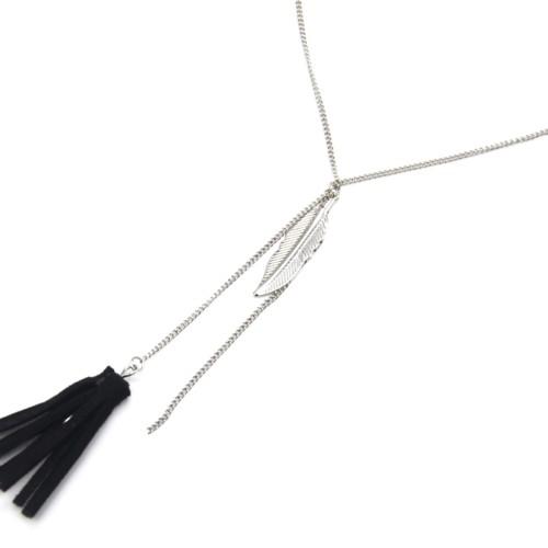 Collier-Fine-Chaine-Y-Pendentif-Plume-Metal-Argente-et-Pompon-Franges-Noir