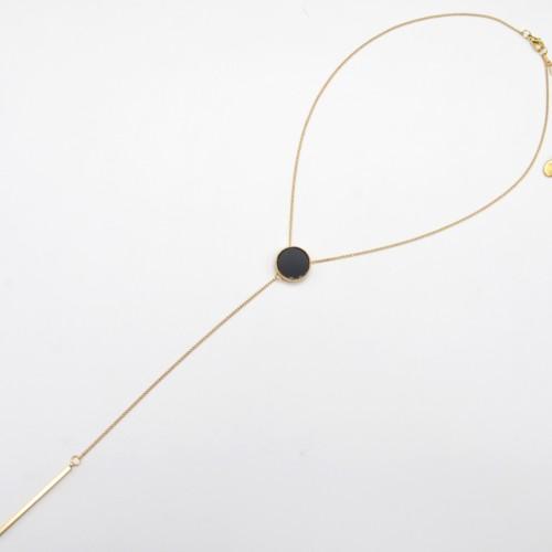 Collier-Fine-Chaine-Y-Pendentif-Cercle-Resine-Noir-et-Barre-Metal-Dore