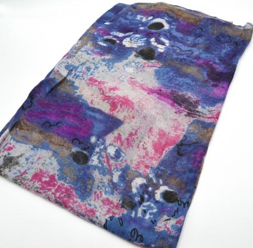 Foulard-Long-Printemps-Ete-Motif-Art-Graphique-et-Poesie-Bleu
