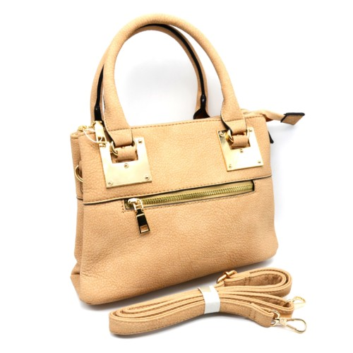 Mini-Sac-Main-Rectangle-Simili-Cuir-Beige-avec-Fermeture-Zip-et-Plaques-Carrees-Dore
