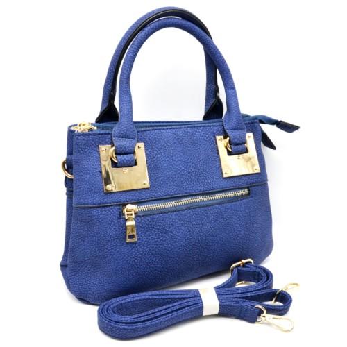 Mini-Sac-Main-Rectangle-Simili-Cuir-Bleu-avec-Fermeture-Zip-et-Plaques-Carrees-Dore