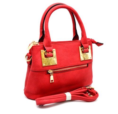 Mini-Sac-Main-Rectangle-Simili-Cuir-Rouge-avec-Fermeture-Zip-et-Plaques-Carrees-Dore