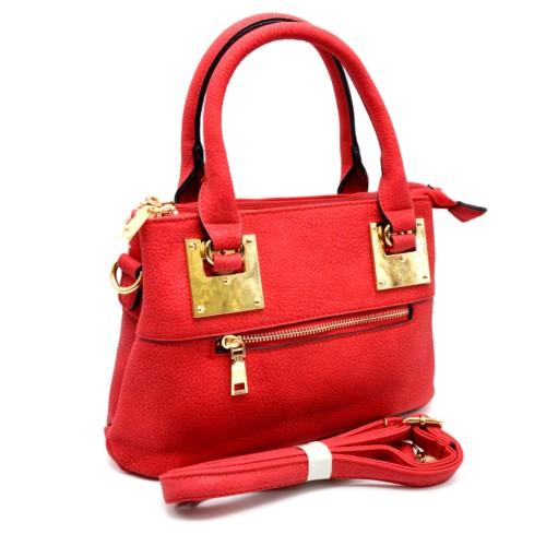 Mini-Sac-Main-Rectangle-Simili-Cuir-Rouge-avec-Fermeture-Zip-et-Plaques-Carrees-Dore