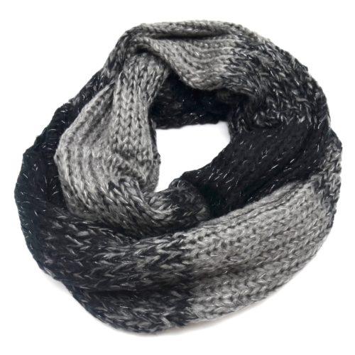 Echarpe-Snood-Tube-Tour-de-Cou-Automne-Hiver-Bicolore-Noir-avec-Fils-Brillants-Argente-Noir-Gris