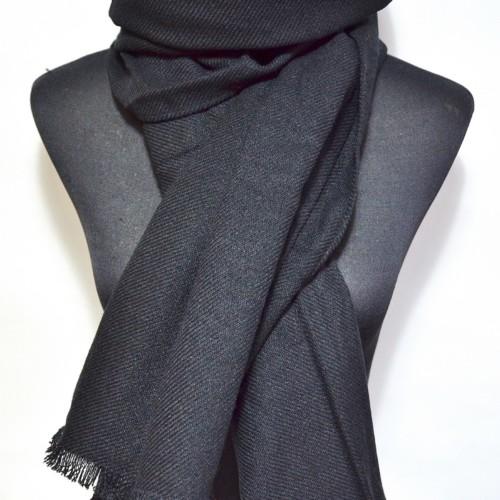 Echarpe-Longue-Automne-Hiver-Simple-Uni-Noir