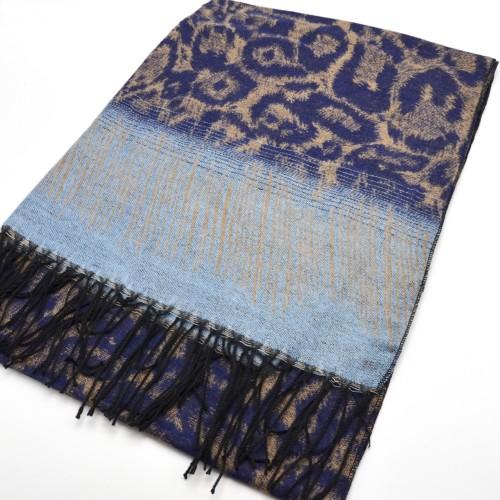 Echarpe-Longue-Pashmina-Automne-Hiver-Motif-Leopard-Bleu-avec-Franges