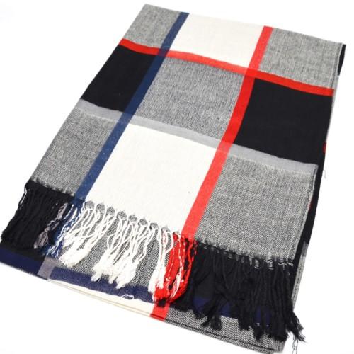 Echarpe-Longue-Pashmina-Automne-Hiver-Motif-Carreaux-Style-Tartan-avec-Franges-Beige-Noir-Gris-Bleu