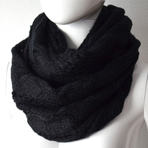 Echarpe-Tube-Tour-Cou-Automne-Hiver-Maille-Style-Pull-Tricot-Noir