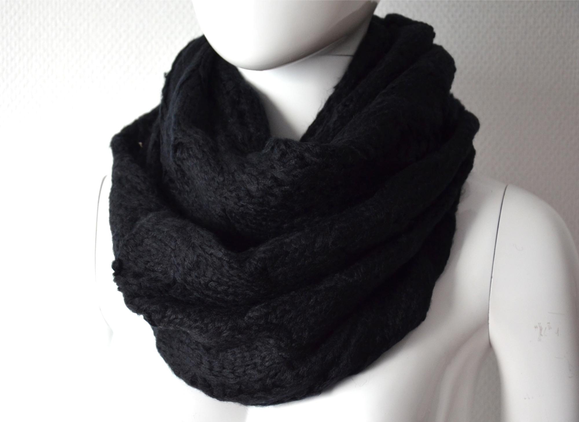 psv56 echarpe snood tube tour de cou automne hiver maille style pull tricot mode femme noir. Black Bedroom Furniture Sets. Home Design Ideas