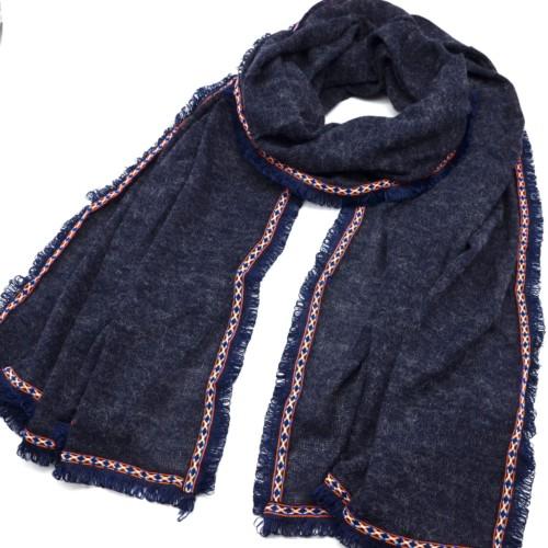 Echarpe-Longue-Automne-Hiver-Tissu-Chine-Bleu-Marine-avec-Contour-Motif-Ethnique-et-Fils