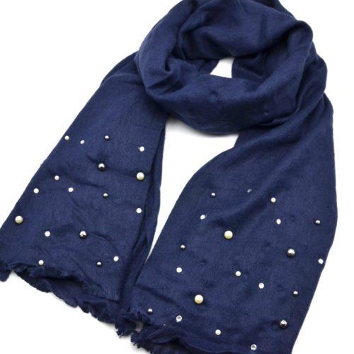 Echarpe-Longue-Automne-Hiver-Uni-Bleu-Marine-Orne-de-Perles-Strass-et-Boules-Facettes