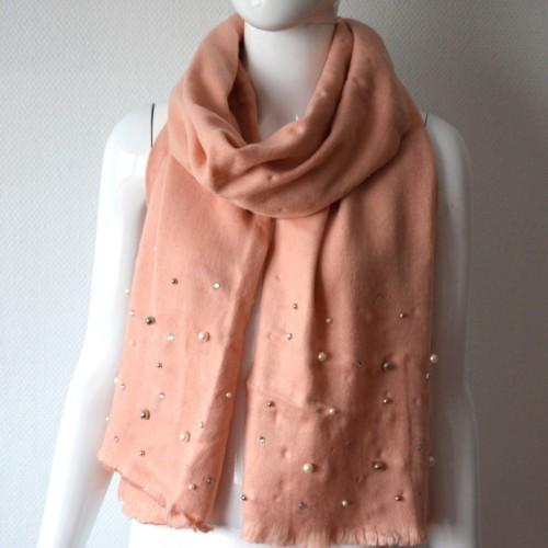Echarpe-Longue-Automne-Hiver-Uni-Rose-Pale-Orne-de-Perles-Strass-et-Boules-Facettes