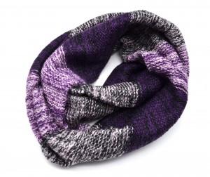 Echarpe Snood Tube Tour de Cou Automne Hiver Maille Bicolore Dégradé – Mode Femme (Violet)