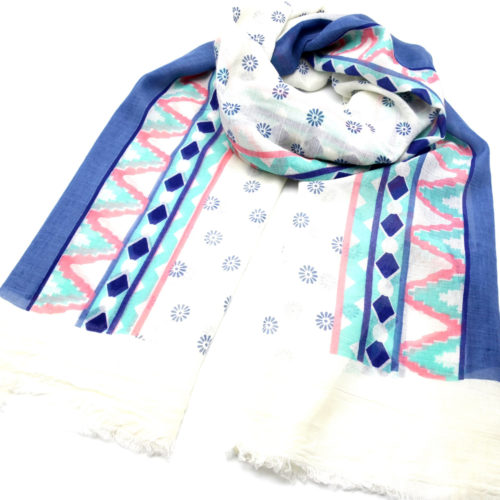Foulard-Long-Printemps-Ete-Imprime-Motif-Fleurs-et-Bandes-Ethnique-Multicolore-Bleu