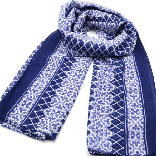 Foulard-Long-Printemps-Ete-Motif-Style-Mosaique-et-Carreaux-Bleu-Marine