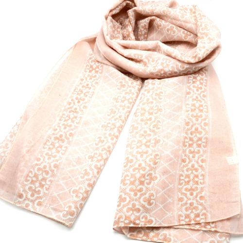 Foulard-Long-Printemps-Ete-Motif-Style-Mosaique-et-Carreaux-Rose-Pale