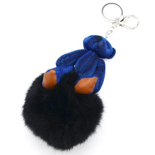 Porte-Cles-Bijou-de-Sac-Ourson-XXL-Tissu-Brillant-Bleu-et-Pompon-Noir