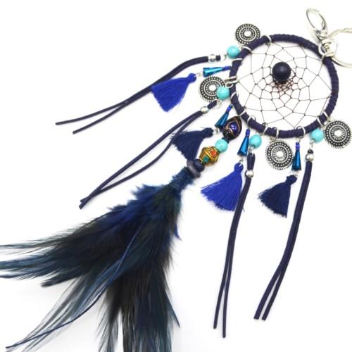 Porte-Cles-Bijou-de-Sac-Attrape-Reves-Dreamcatcher-avec-Pompons-et-Plume-Ethnique-Bleu-Nuit