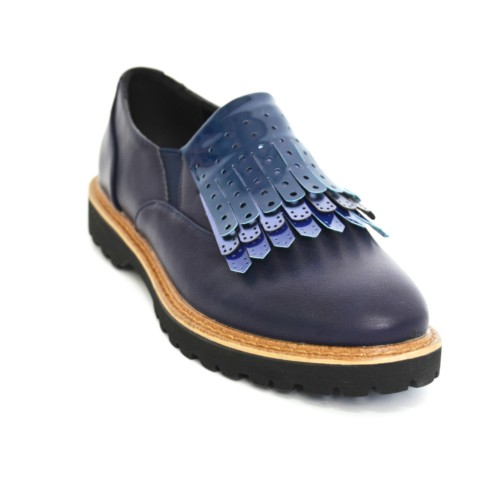 Derbies-Derby-Simili-Cuir-Uni-avec-Multi-Franges-Perforees-Vernies-Bleu