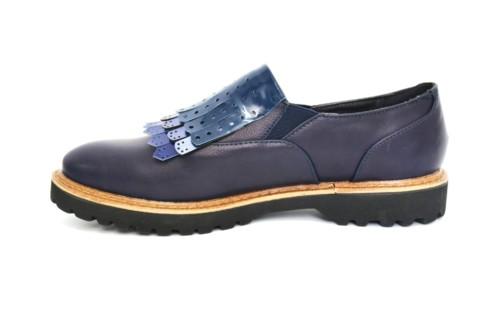 Derbies-Derby-Simili-Cuir-Uni-avec-Multi-Franges-Perforees-Vernies-Bleu