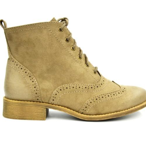 Bottines-Boots-Plates-Effet-Daim-Uni-Perfore-avec-Surpiqures-Bouts-Effet-Cire-et-Lacets-Taupe