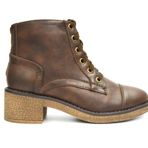 Bottines-Boots-a-Petit-Talon-Carre-Simili-Cuir-Uni-avec-Surpiqures-et-Lacets-Marron