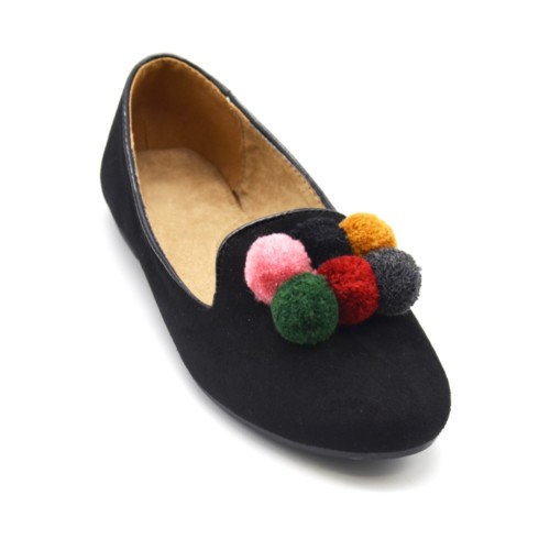 Ballerines-Slippers-Mocassins-Effet-Daim-Uni-Noir-avec-Contour-Vernis-et-Pompons-Boule-Multicolore