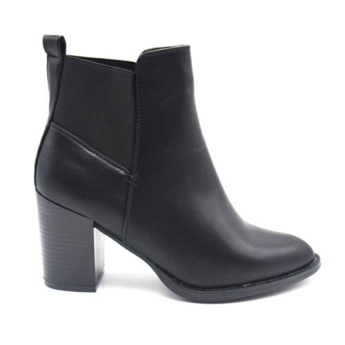 Bottines-Boots-Talon-Carre-Simili-Cuir-Uni-Noir-avec-Bout-Pointu-et-Bande-Tissu-Elastique