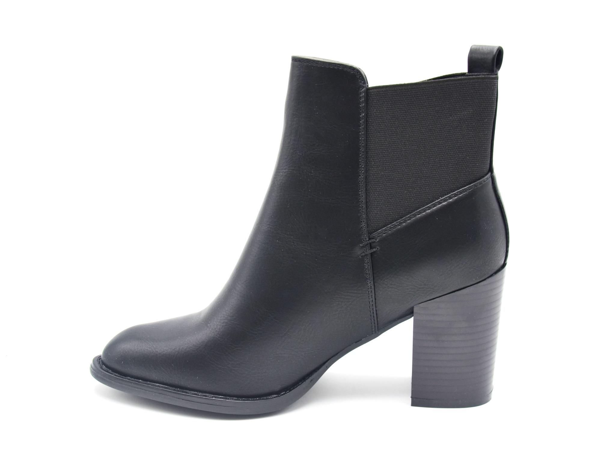 shf79 bottines boots talon carr simili cuir uni avec bout pointu et bande tissu elastique. Black Bedroom Furniture Sets. Home Design Ideas
