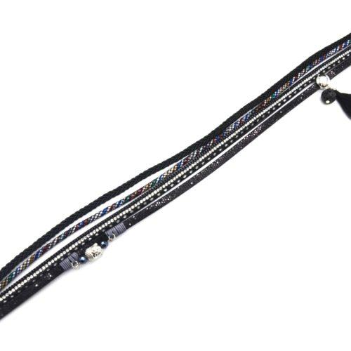 Bracelet-Double-Tour-Multi-Rangs-Tresse-Strass-Ecailles-Noir-avec-Charms-Bouddha-Pierre-Pompon