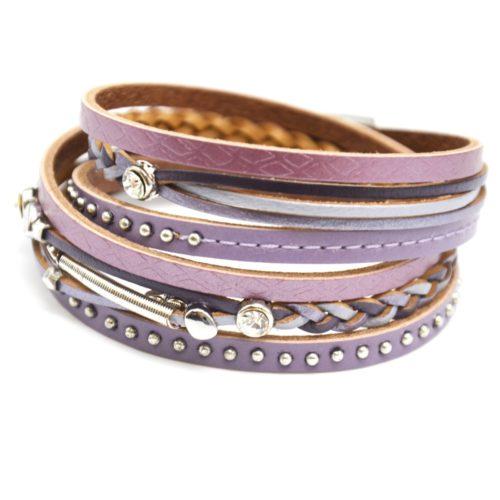 Bracelet-Double-Tour-Multi-Rangs-Cuir-Lilas-avec-Surpiqure-Clous-Tresse-et-Pierres