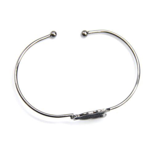 Bracelet-Jonc-Ouvert-avec-Chouette-Hibou-Cisele-Metal-Noir-Gris