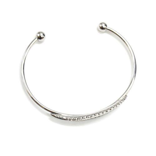 Bracelet-Jonc-Ouvert-avec-Feuille-Relief-Metal-Argente
