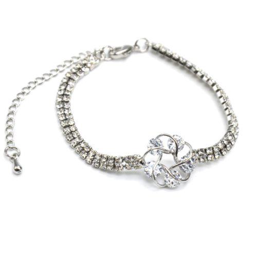 Bracelet-2-Rangs-Strass-avec-Charm-Fleur-Pierres-et-Metal-Argente
