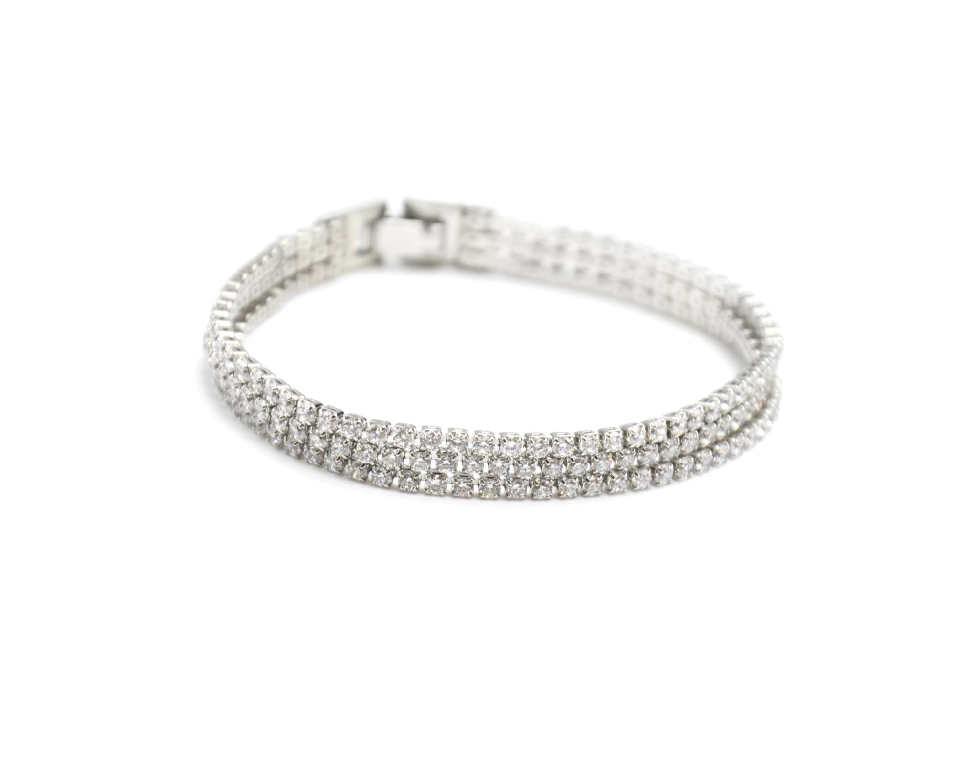 0eb1af4e4d0ba BC2036E – Bracelet 3 Rangs Strass Zirconium et Métal Argenté Chic Soirée –  Mode Fantaisie