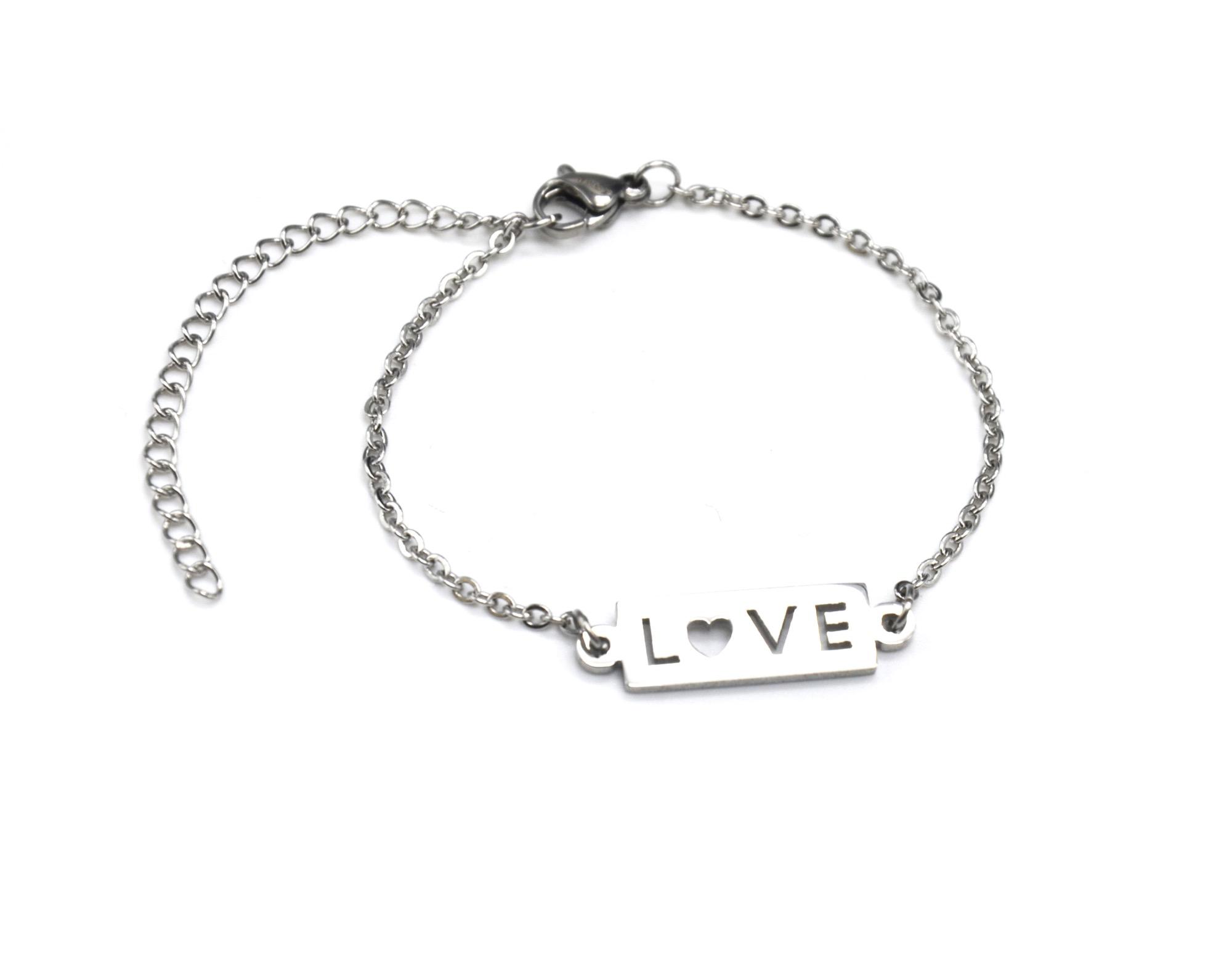 c40a7e4f8f845 BC2039F – Bracelet Fine Chaîne avec Charm Rectangle Love Acier Argenté –  Mode Fantaisie
