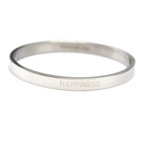 Bracelet-Jonc-Moyen-Acier-Argente-avec-Message-Happiness