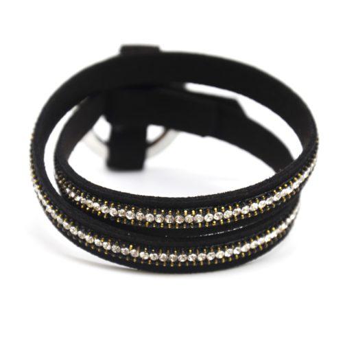 Bracelet-Double-Tour-Feutrine-Noir-avec-Strass-et-Cercle-Fermoir-Metal