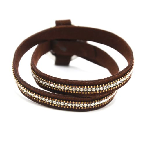 Bracelet-Double-Tour-Feutrine-Marron-avec-Strass-et-Cercle-Fermoir-Metal