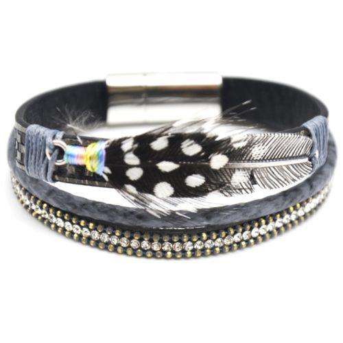 Bracelet-Manchette-Multi-Rangs-Simili-Cuir-Motif-Gris-avec-Strass-et-Plume-Ethnique